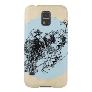Vintage Birds, Blue Circle, Antique Illustration Galaxy S5 Covers