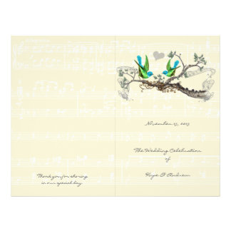 Vintage Birds Blue & Green Wedding Program 21.5 Cm X 28 Cm Flyer