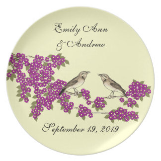 Vintage Birds  Branch Pink Fuchsia Cherry Blossom Dinner Plate