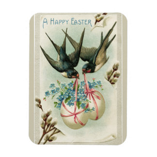 Vintage Birds Carrying Easter Eggs Yellow Magnet