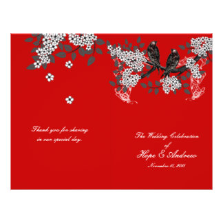 Vintage Birds Cherry Red Wedding Program Flyer