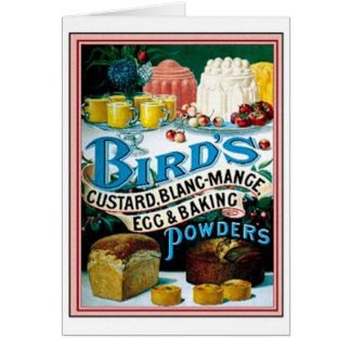 Vintage Birds Custard, Blanc-Mange Egg & Baking Po Greeting Card
