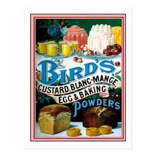 Vintage Birds Custard, Blanc-Mange Egg & Baking Po Post Card