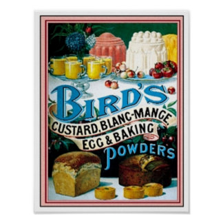Vintage Birds Custard Blanc-Mange Egg Baking Po Poster