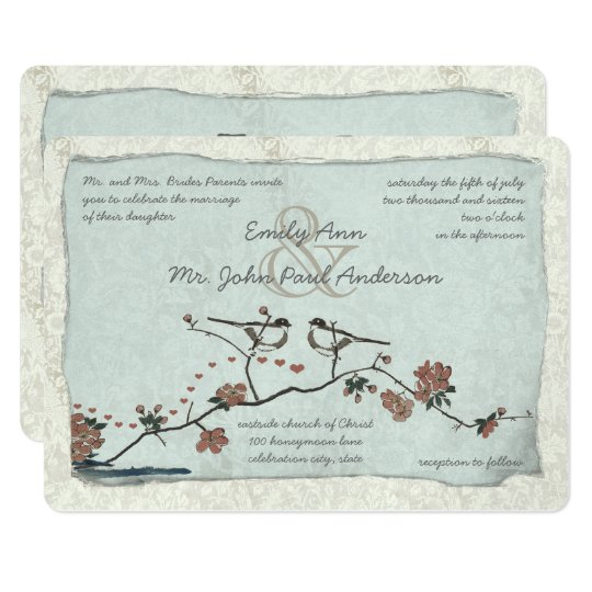 Vintage Birds Damask Wedding Invitations