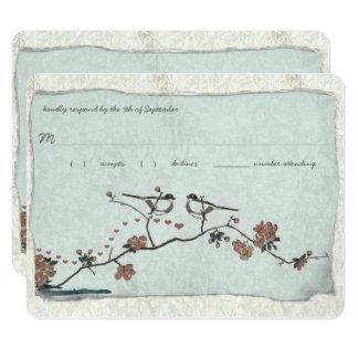 Vintage Birds Damask Wedding RSVP 11 Cm X 14 Cm Invitation Card