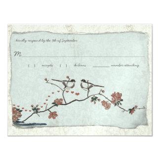 Vintage Birds Damask Wedding RSVP 4.25x5.5 Paper Invitation Card