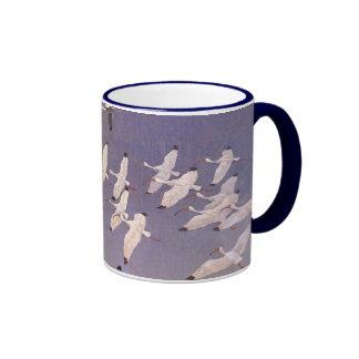 Vintage Birds, Flock of Ibis Flying Over Wetlands Ringer Mug