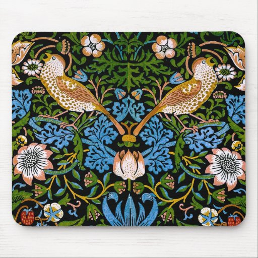 Vintage Birds Flowers Strawberries Tapestry Mousepad
