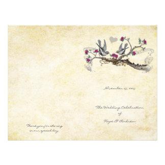 Vintage Birds Fuchsia & Gray Wedding Program Flyer