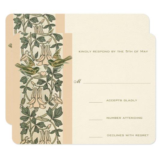 Vintage Birds HoneySuckle Wedding RSVP Card