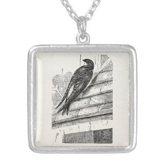 Vintage Birds House Martin Swallow Retro Bird Silver Plated Necklace
