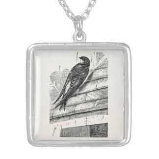 Vintage Birds House Martin Swallow Retro Bird Square Pendant Necklace