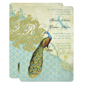 Vintage Birds Lagoon Endive Damask Wedding Card