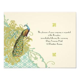 Vintage Birds Lagoon Endive Damask Wedding RSVP Card