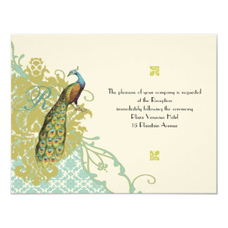 "Vintage Birds Lagoon Endive Damask Wedding RSVP 4.25"" X 5.5"" Invitation Card"