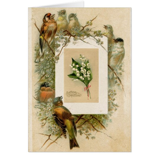 Vintage Birds Lily of the Valley Flowers Birthday