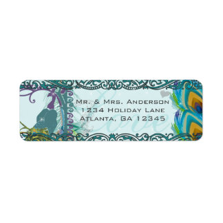 Vintage Birds Musical Love Peacock Feather Address