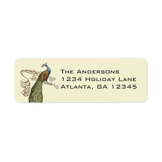Vintage Birds Musical Peacock Address Labels