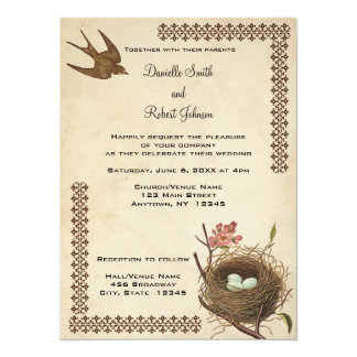Vintage Birds Nest Custom Wedding Invitation