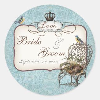 Vintage Birds' Nest in Chair, Wedding Invitation Round Sticker