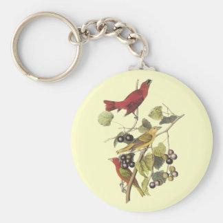 Vintage Birds On Berry Vine Basic Round Button Key Ring