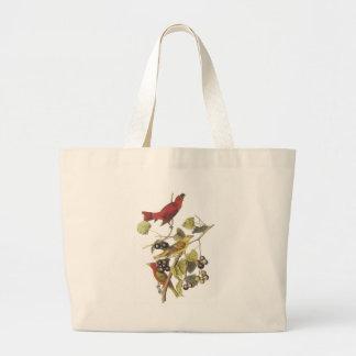 Vintage Birds On Berry Vine Jumbo Tote Bag
