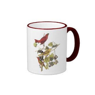 Vintage Birds On Berry Vine Ringer Mug