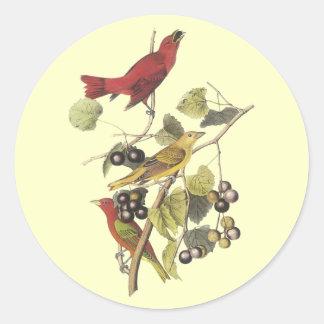 Vintage Birds On Berry Vine Round Sticker