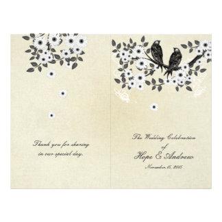 Vintage Birds Parchment Bi-Fold Wedding Program Flyer