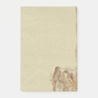 Vintage Birds Parchment Paper  Retro Background Post-it Notes