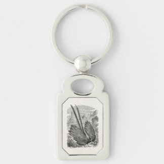 Vintage Birds Personalized Pheasant Game Fowl Bird Silver-Colored Rectangle Key Ring