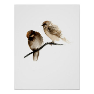 Vintage birds poster with grey birdies