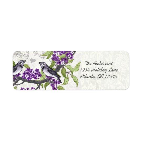 Vintage Birds Purple Flowering Branch Label