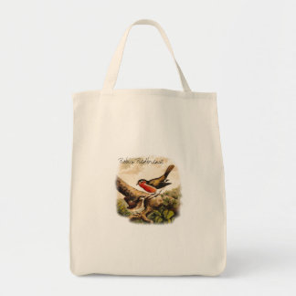 Vintage Birds Robins Illustration with Text Tote Bag