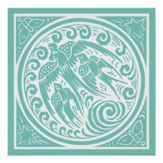 Vintage Birds with Butterflies and Stars Poster