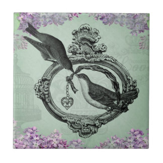 Vintage Birds With Heart Locket Apparel and Gifts Small Square Tile