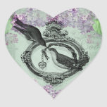 Vintage Birds With Heart Locket Apparel and Gifts Heart Sticker