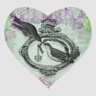 Vintage Birds With Heart Locket Apparel and Gifts Stickers