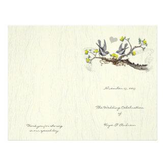 Vintage Birds Yellow & Gray Woodgrain Program Flyer