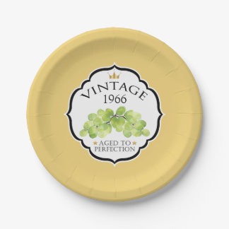 Vintage Birth Year Birthday Wine Label 7 Inch Paper Plate