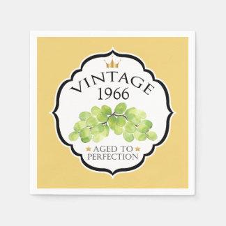 Vintage Birth Year Birthday Wine Label Disposable Napkin