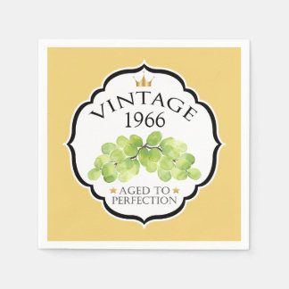 Vintage Birth Year Birthday Wine Label Disposable Serviettes