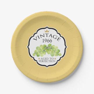 Vintage Birth Year Birthday Wine Label Paper Plate