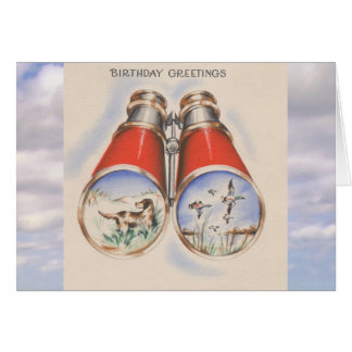 Vintage Birthday | Bird Hunter Dog Binoculars Card