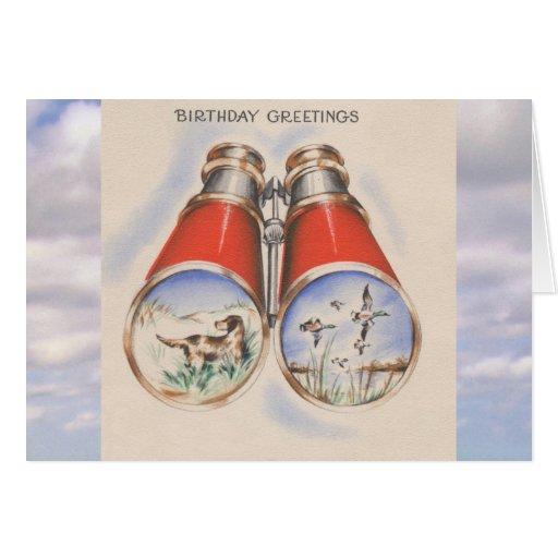 Vintage Birthday Bird Hunter Dog Binoculars Cards