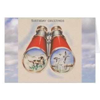 Vintage Birthday Bird Hunter Dog Binoculars Note Card
