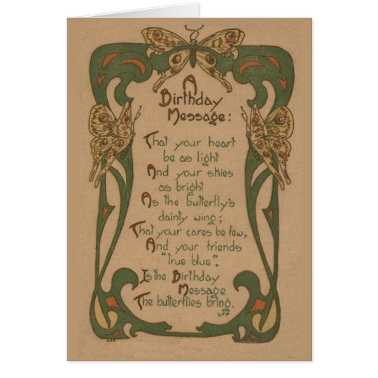 Vintage Birthday Card - Art Nouveau