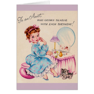 Vintage Birthday Card for Dear Aunt