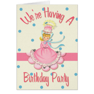 Vintage Birthday Girl Party Invitation Greeting Card
